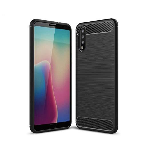 COPHONE Funda compatible con Huawei P20 , Negro Silicona Funda para P20 Carcasa Fibra De Carbono Funda Case