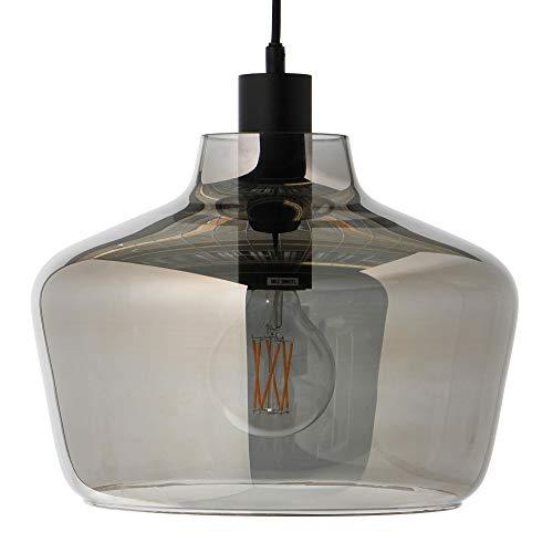 Kyoto Pendelleuchte, transparent elektrogalvanisiert H 23cm Ø 30cm Stoffkabel schwarz 300cm Baldachin Metall schwarz HxØ 2,5x12,5cm