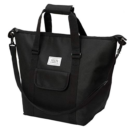 Insulated Portable Tote Bag by KRYO - Large picnic lunch cooler bag - Mens and Womens oversized travel totes with shoulder strap - Thermal Insulation coolers for cold food, beverages and wine (Black)