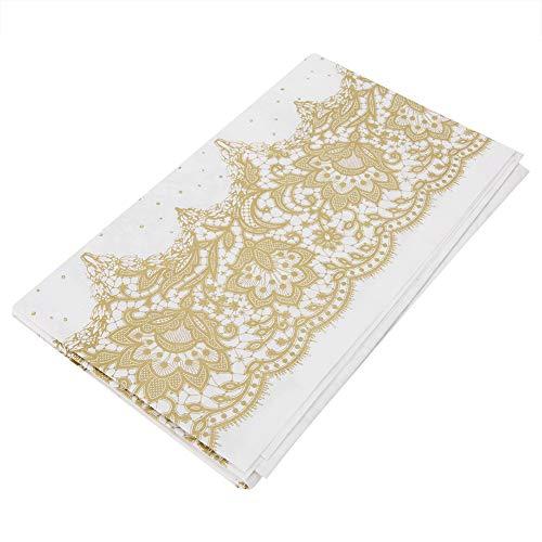 Mantel rectangular desechable de papel, elegante, de color dorado y plateado, con estampado de flores, para bodas, cumpleaños, camping, fiestas, decoración de mesa 140 x 140 cm dorado