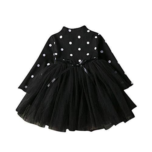 Baby Mädchen Kleid 1-3 Jahre Gaze Tutu Prinzessin Kleider Säugling Kleinkind Partei Tüll Rock Langarm Wellenpunkt Gürtel Nette Gestrickte Baumwolle