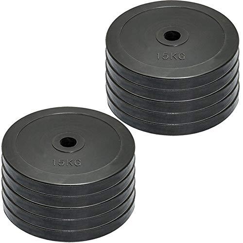 Set de discos olímpicos para pesas de MaxStrength, de goma, con orificio de 5 cm, para entrenamiento en gimnasio o en casa, color negro, tamaño 10kg x 6 = 60