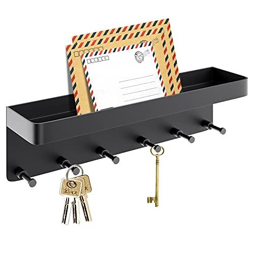 LEVOTIYER Key Holder, Key Holder for Wall Decorative with 6 Hooks, Key Rack with Smart Shelf, Key and Mail Holder Wall Adhesive with Small Mail Holder, Key Hooks Small Wall Shelf for Home and Office.