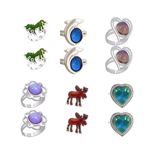Toyvian 12 Piezas Anillos de Humor Unicornio delfín corazón Flor Cambio de Color sentimiento Emocional Anillo de Dedo