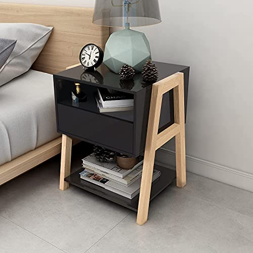 TaoHFE Nightstand Black MDF Bedside Table with Drawer Storage Shelf,end Table for Bedroom/Living...
