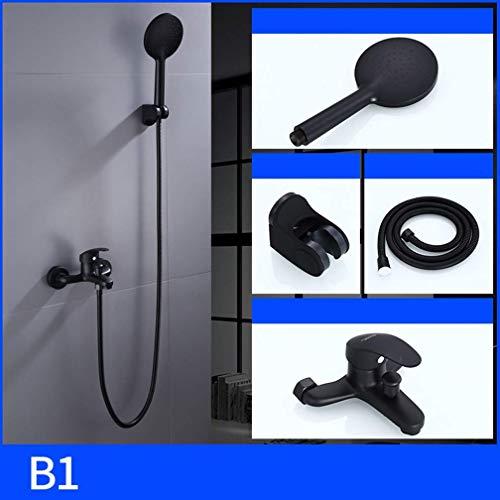 Duscharmatur-Set, Brausegarnitur schwarz, Haushaltskupfer, europäische Duschkabine, Duschkabine, C