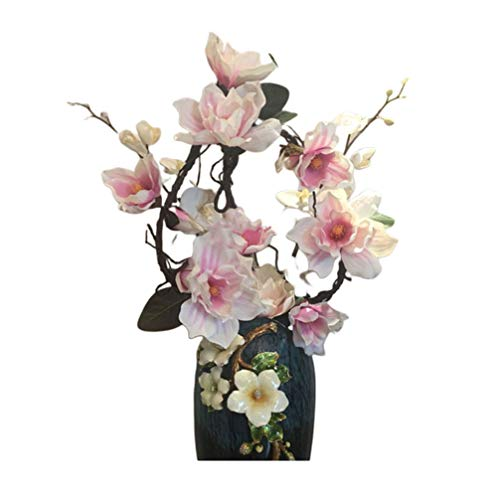 PRETYZOOM Artificial Flower Vine Fake Realistic Magnolia Garland Hanging Vine Flower Plants Rattan Floral Decoration for Home Birthday Wedding Party (Pink)