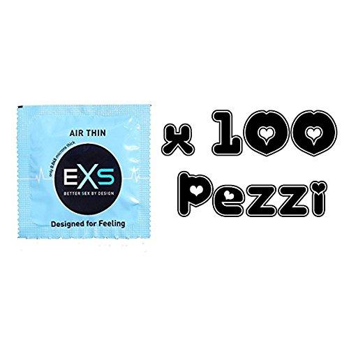 EXS Vorratspackung - Airthin 100 Kondome - für ein Gefühl wie mit ohne Kondom - nur 0,04mm Wandstärke - ein Hauch von Nichts bei maximalen Schutz