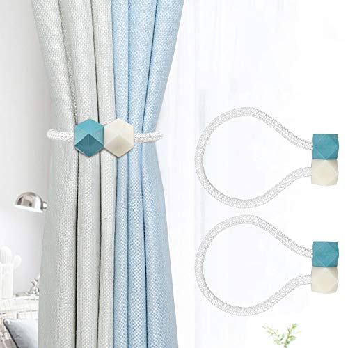 2×Abrazaderas Cortinas, Alzapaños Cortinas Iman, Curtain Tiebacks Tie Backs Magneticas Cuerda Hebillas Cortinas Materiales Ecológicos, Moderna Decorativas para Ducha Cocina Oficina(Blanco + Azul)