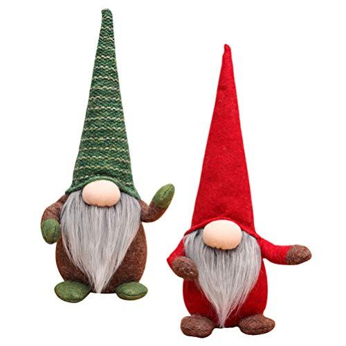Amosfun 2 enanos de peluche de Navidad, elfos, decoración, vacaciones, hechos a mano, escandinavo, tomte sueco, muñeco para decoración de Navidad, regalos, mesa del hogar