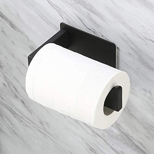 KES Toilettepapierhalter Selbstklebend Klorollenhalter Klopapierhalter Ohne Bohren Papier Halter SUS304 Edelstahl Rollenhalter Wandmontage Matt Schwarz, A23571DM-BK
