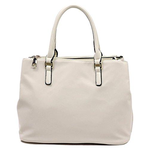 Isabelle Nylon Multi Compartment Satchel Handbag (Beige)