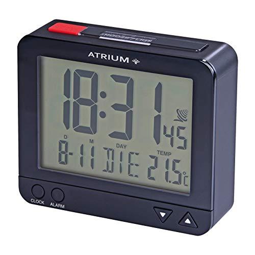 Atrium A760-5 Draadloze wekker, digitaal blauw metallic, sensorgestuurd nachtlampje op de bovenkant, datum en temperatuurweergave