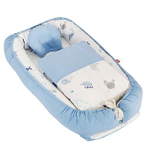 TONGJI Babynest knuffelnest babynestje met quilt multifunctioneel opvouwbaar bed draagbaar babybed reisbed 100% katoen zacht 0-24 maanden Meerblau zoals getoond