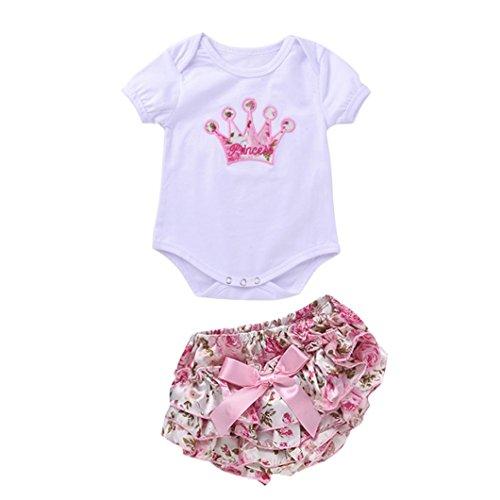 IMJONO Fille Ensemble, 1Set Nouveau née Bébé Petites Filles Tenue Vêtements Floral Combinaison Romper Pantalons Courts (0-3 Mois, Blanc)