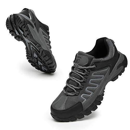 FOGOIN Wanderschuhe Herren Damen Leicht Low Trekkingschuhe rutschfest Atmungsaktiv Outdoor Walking Schuhe Sportlich Trekking-& Wanderhalbschuhe, Grau, Gr.43