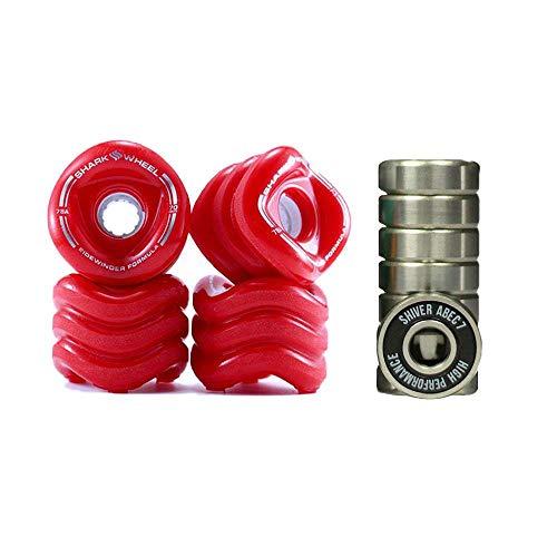 Shark Wheel Sidewinder 70mm 78A Skateboard Wheels, Red + Shiver ABEC 7 Bearings