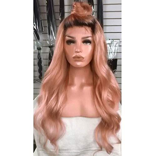 AMYD Cheveux Noirs Racine Rose Big Ondulés Longs Cheveux Bouclés pour Lady Perruques Naturel (Colorsize, Rose), Rose
