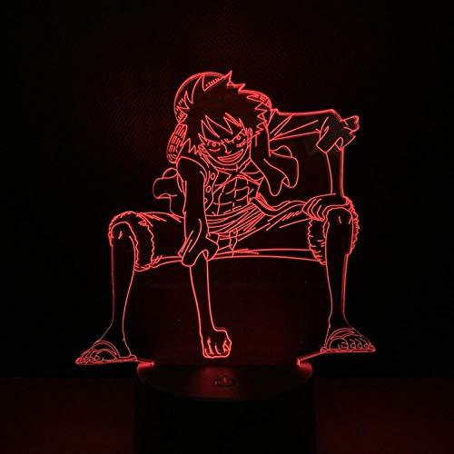 Lámpara de escritorio de mesa de ilusión óptica 3D Monkey D Luffy dollSeven atmósfera de colores Regalo decorativo de Navidad Dormitorio de bebé Luz de decoración de cabecera-16 color remote control