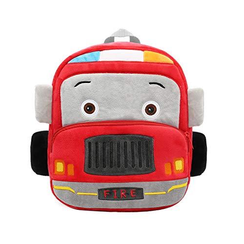 Nuovo Simpatico Zaino Per Auto In Peluche 3d Stereo Camion Dei Pompieri Giocattolo Auto Borsa Zaino Per Bambini Borsa Da Scuola Materna