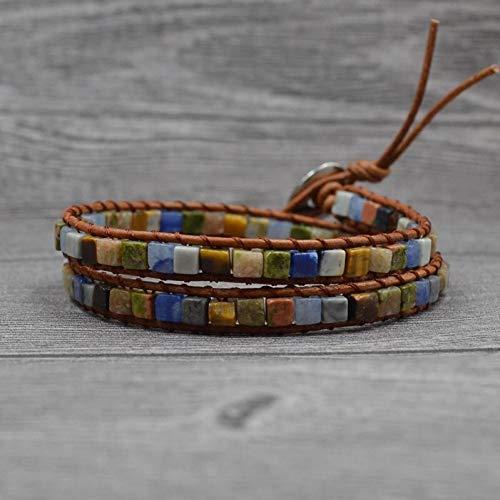 XBSZK Boho Armband met parels en lederen armband voor dames, voor natuurstenen, 2 wikkelarmbanden
