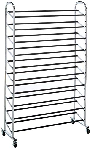 Whitmor 10 Tier Shoe Tower - 50 Pair - Rolling Shoe Rack...