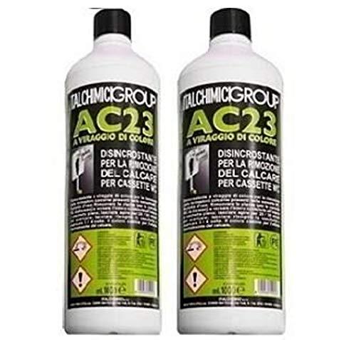 italchimici group Disincrostante AC23 per Cassette WC Incasso Geberit e Cassette WC Esterne per la Rimozione del Calcare - 2 flaconi da 1 litro ciascuno