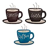 Coffee Metal Wall Art by CYSCOMMA  4.7 H x 4.4 W Inches  Latte, Coffee, Espresso Written Wall Decor Brown, Black, and Blue Wall Decor - Coffee Shop, Lounge, Dining, Kitchen Decorations
