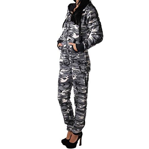 Jumpsuit Overall in Camouflage Farben in Sweatstoff für Frauen (Grau) - 2