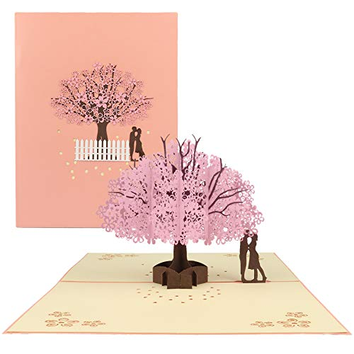 Happy Will Pop Up Valentine Day Cherry Blossom Card Birthday Anniversary Card for Wife 3D Greeting Wedding Card for Couple Her(Romantic Cherry Blossoms)