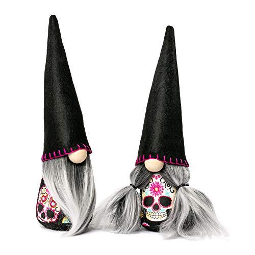 Joyful Gnomes - Handmade Day of the Dead Gnomes, Mexico, Mexican Gnomes, Día de Muertos, Indoor Nordic Style Felt and Fabric Gnomes, 2-piece set