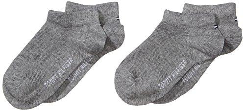Tommy Hilfiger 2-Pack C Calcetines de Ribetes de Punto Elástico, Niñas, Gris (Middle Grey Melange), 27-30 EU