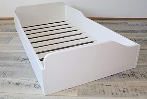 LETTINO MONTESSORI IN LEGNO mod.'DINO' bianco (150x70)