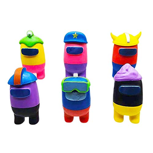 BESTZY Among Us Figuras en Miniatura 6PCS Among Us Figure Toy Entre Nosotros Juguetes Navidad DIY Figuras de Jardín Decoraciones Adornos de Mesa Escritorio Figuras de Juguete Lindas Colección
