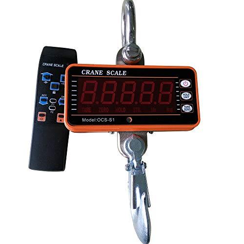 1T 1000KG Elektronische kraanweegschaal, hangweegschaal, digitale haak, hangweegschaal, kraanweegschaal, met led-display en afstandsbediening
