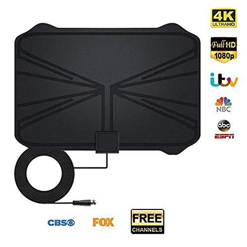 franktea HDTV-Antenne, 1180 Meilen 4K Digital-HD-TV-Zimmerantenne mit Verstärkersignalverstärker TV-Radius beim Surfen Fox Antena HD-TV-Antennenantenne