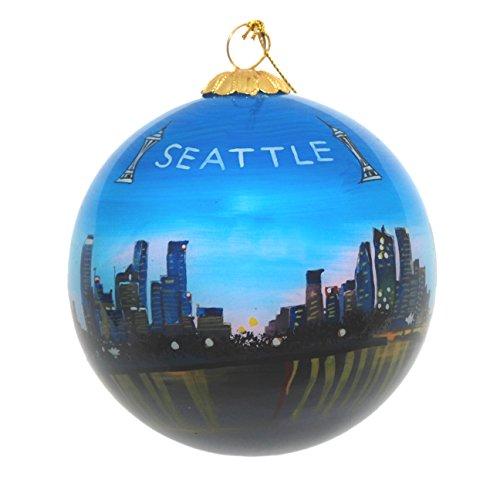 Hand Painted Glass Christmas Ornament - Seattle, Washington Great Wheel Night