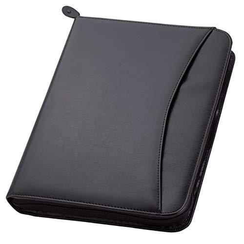Travigo 3-Ring Zipper Business Leather Portfolio Folder  1.25' 3-Ring Binder Professional Business Folder Resume Document Organizer Exterior Pocket   Guesseted File Pocket  8-1-2' Writing Pad (Black)