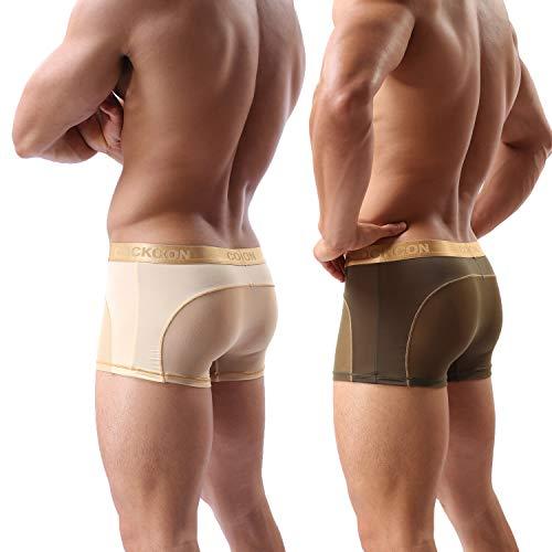 Lot de 2 Boxer Shorts de Perspective sous-vêtements de Hommes Culottes Voir à Travers Caleçons Doux Transparent Sexy Boxeur pour Homme (Navy/Skin-FR, XL)