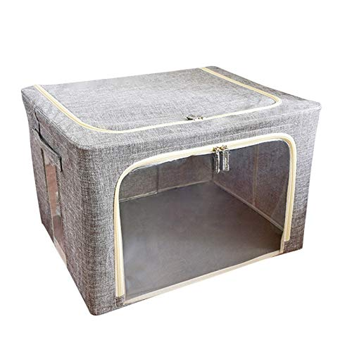 Caja de almacenamiento de ropa para el hogar, plegable, bolsa organizadora de tela gruesa para edredones, mantas, ropa de cama, plegable con cremallera resistente, ventana transparente de dos tamaños