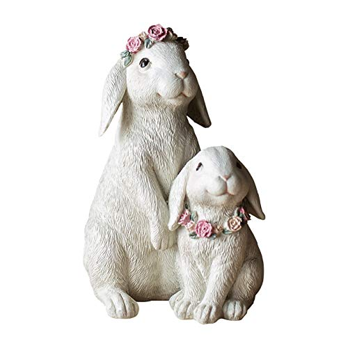 NYKK Art Decorative Statue Creative Animal Statue Wearing A Wreath Of Rabbit Sculpture Cute Decorative Ornaments Resin Home Living Room Jewelry Home Décor Products (Size : Small)