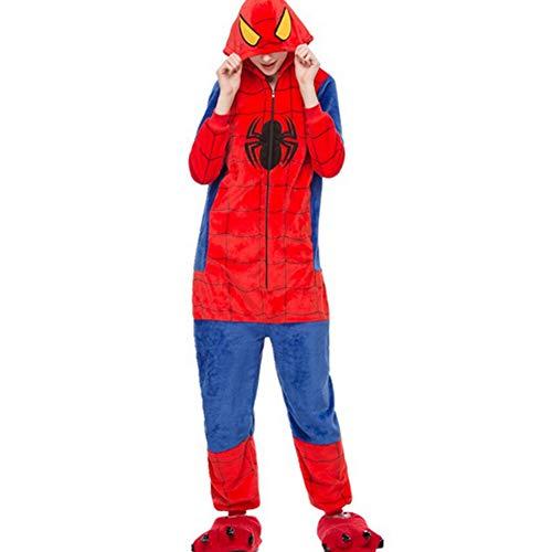 Unisex Cálido Pijamas para Adultos Cosplay Animales de Vestuario Ropa de Dormir (L-para Altura:168-175cm, Spiderman)