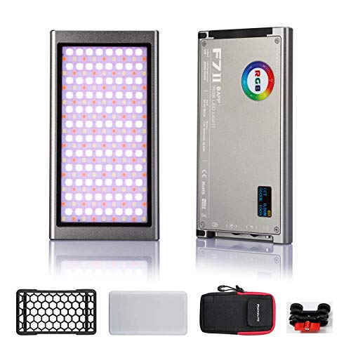 Falcon Eyes Pockelite F7 II 12W RGB LED-Kameralicht Dimmbar 2500K-9000K mit Honeycomb Softbox und Magic Arm APP Control 20 Szeneneffektmodus