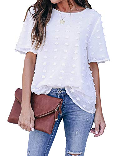 Blooming Jelly Womens Chiffon Blouse Summer Casual Round Neck Short Sleeve Pom Pom Shirts Tops(Medium,White)