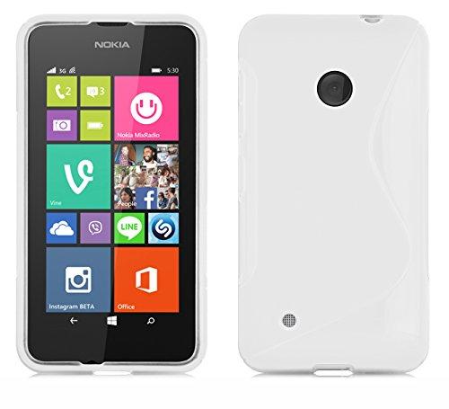 Cadorabo Custodia per Nokia Lumia 530 in Semi Transparente - Morbida Cover Protettiva Sottile di Silicone TPU con Bordo Protezione - Ultra Slim Case Antiurto Gel Back Bumper Guscio