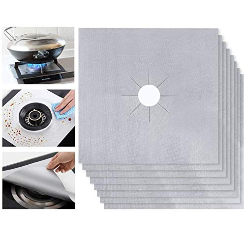Ballery Protectores del Rango del Gas Protector de Quemador Stovetop Liner Cover Clean Mat Pad - Antiadherente, Apto para Lavavajillas – Silver