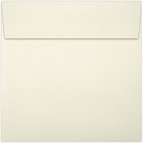 LUX Paper Square Invitation Envelopes for 6 1/4 x 6 1/4 Cards in 70 lb. Natural, Printable Envelopes for Invitations, with Peel & Press Seal, 50 Pack, Envelope Size 6 1/2 x 6 1/2 (Off-White)