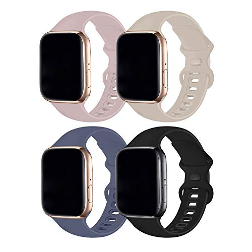Hotflow 4 Pack Compatible with Watch Band 38mm 40mm,Sport Silicone Soft Replacement Band Compatible for Watch Series SE/6/5/4/3/2/1 [S/M Size -PinkSand/Stone/Lavender Gray/Black]