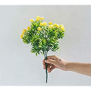 Liveinu 3 Stems Artificial Flowers Fake Outdoor UV Resistant Plants Faux Plastic Greenery Shrubs Indoor Outside Hanging Planter Home Kitchen Office Wedding Garden Decor Yellow Gardenia