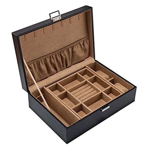 SHUMEISHOUT Caja de joyería - Collar de 2 Capas Reloj de joyería Soporte de joyería Pendiente Pulsera Anillo - Negro
